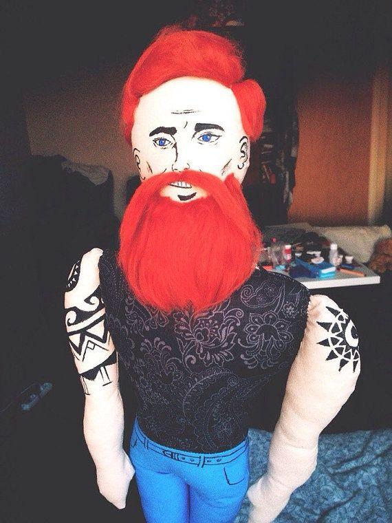 Ginger Beard Doll with polynesian tattoo Textile от RockandDolls, $100.00