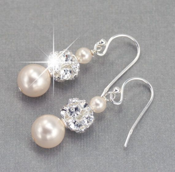 Wedding Earrings, Pearl Dangle Earrings, Wedding Jewelry for the Bride, Pearl and Rhinestone Bridal Earrings