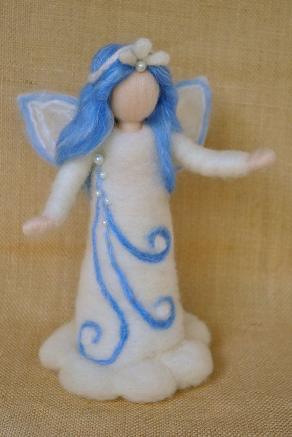 Waldorf inspired standing doll needle felted : Snow by MagicWool