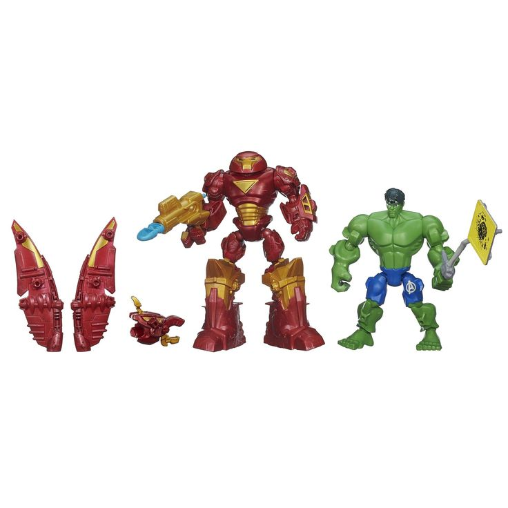 Marvel Super Hero Mashers Hulkbuster vs Hulk Mash Pack. Mix and match parts to create custom Super Hero mash-ups. Figures have 9 points of articulation. Set includes 2 figures with gear. Parts are compatible with other Super Heroes Mashers figures. Includes 2 figures and 8 accessories.