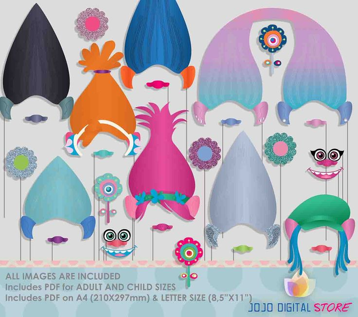 Troll dolls Photo Booth Props for colorful trolls party by JoJoDigitalStore on Etsy https://www.etsy.com/listing/498534295/troll-dolls-photo-booth-props-for