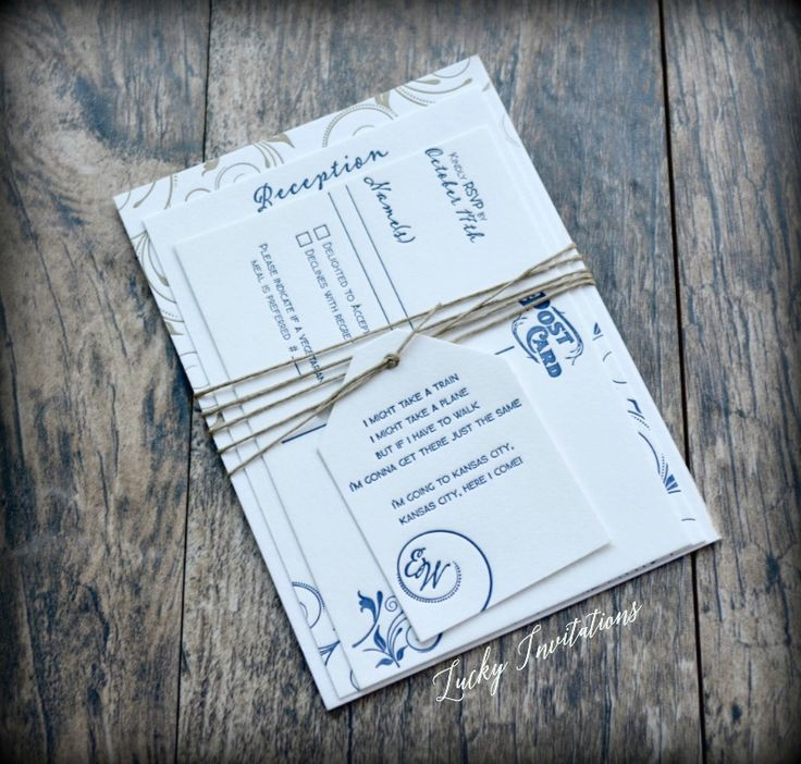 Navy Blue And Gold Letterpress Wedding Invitation Tied With Hemp Custom Tag By