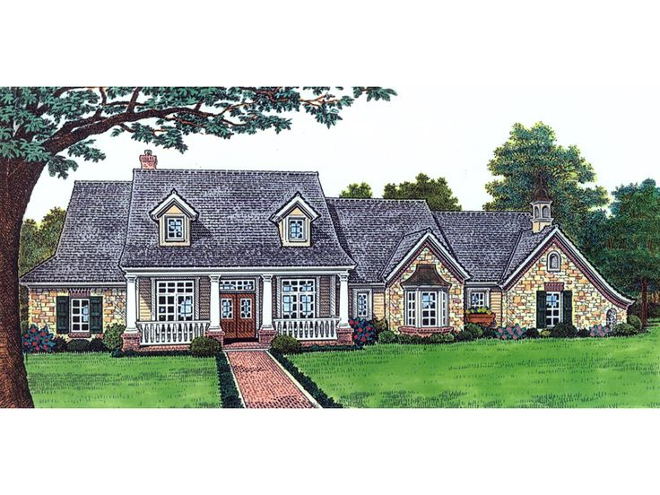 The Kinnersley Southern Country Home has 3 bedrooms, 2 full baths and 1 half bath. See amenities for Plan 036D-0113.