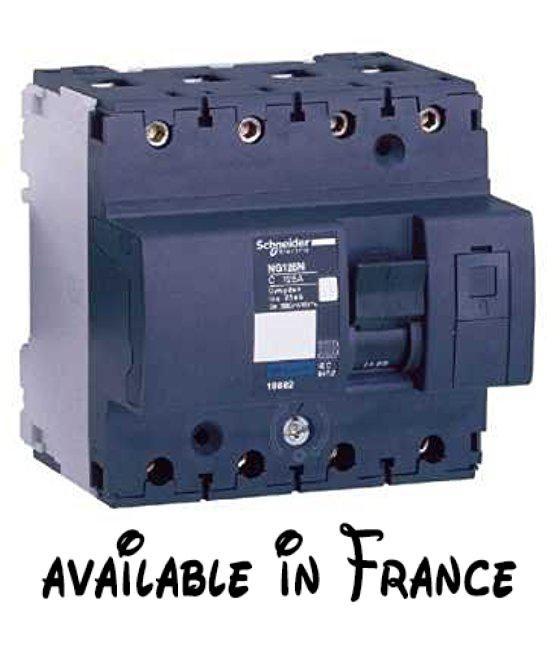B01J5UZMUS : Schneider electric 18818Interrupteur magnétothermique automatique ng125l 4P 80A courbe C. Interrupteur automatique en miniature. Intensité nominale (in) 80A en 40C. Indication marche/arrêt. Indicateur de déclenchement