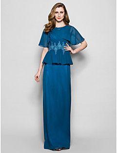 LAN TING BRIDE Fourreau / Colonne Grande Taille Petite Robe de Mère de Mariée - Vintage Inspiré Longueur Sol Manches CourtesMousseline