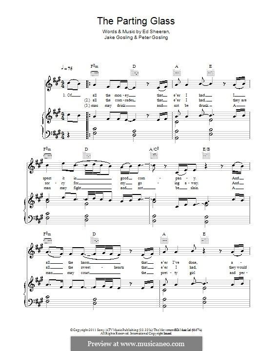 The Parting Glass For Voice And Piano Or Guitar By Ed Sheeran