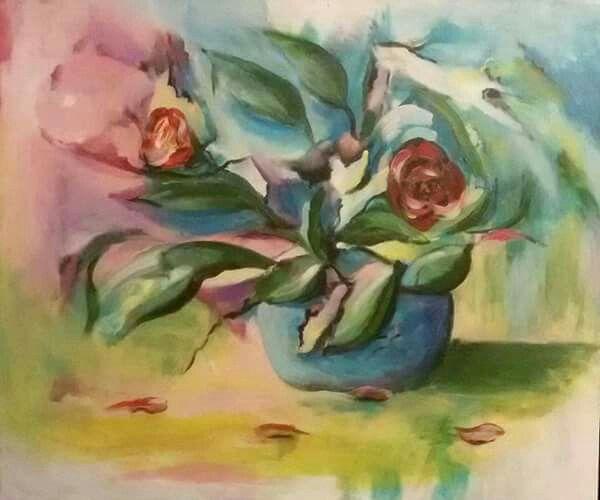 """""""Darované květy"""", akryl na plátně 50x60 cm."""