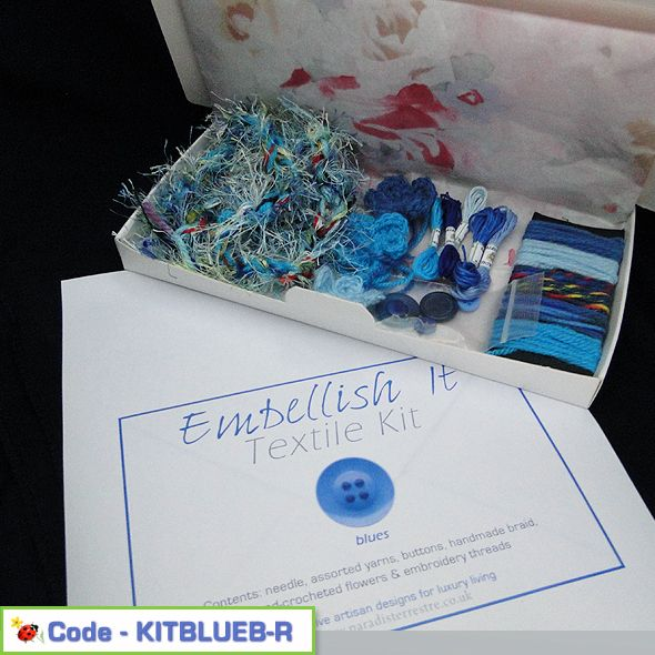 Fancy Embellishment Textile Kit Blues Pack B, Paradis Terrestre - Luxury British Made Accessories & Homeware