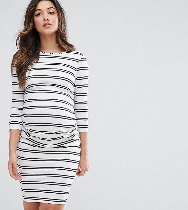 ASOS Maternity PETITE Twin Stripe Bodycon Dress - White