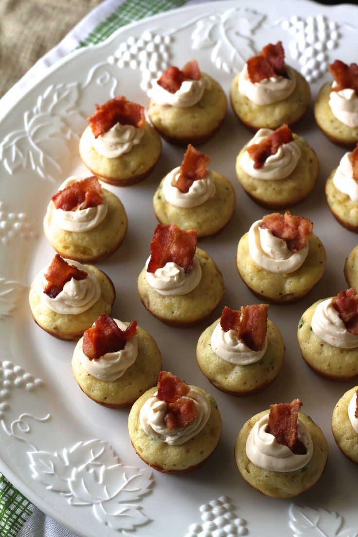 Mini Corn Muffins W/Bacon, Chives, & Spicy Whipped Cream Cheese-Perfect for a bridal or baby shower! {Brittany's Pantry}