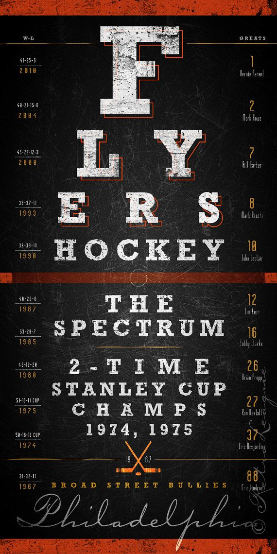 Philadelphia Flyers Eye Chart - Center Ice Series - Free Customization - Perfect Valentines, Birthday and Anniversary - Unframed Prints