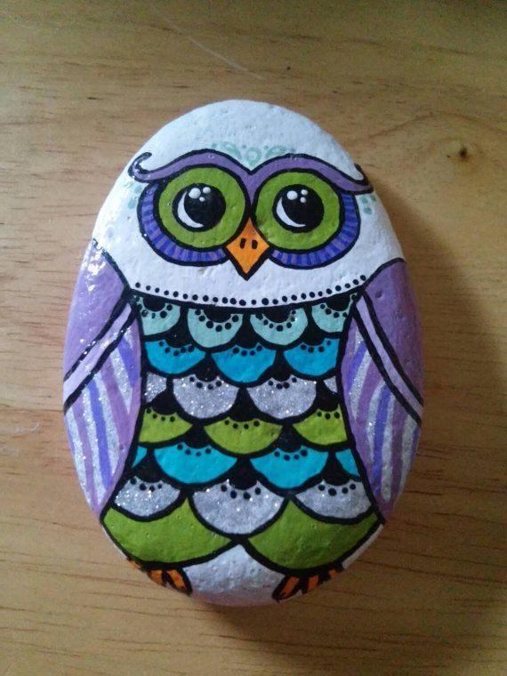 Painted rock owl by ana                                                       …