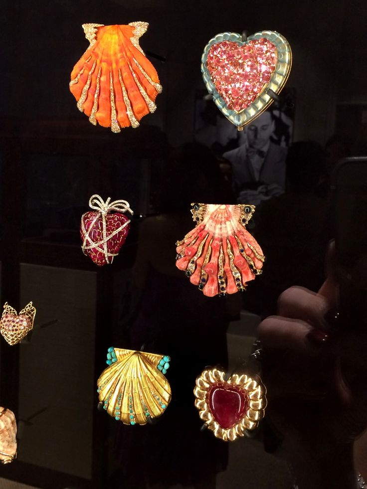 Some of Verdura's iconic shell and heart brooches