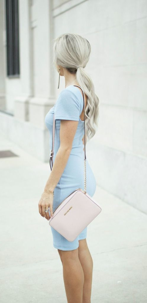 Smile and strike a pose! The Photo Opportunist Powder Blue Bodycon Midi Dress is ready for a closeup! Textured and stretchy medium-weight knit falls elegantly to a wide neckline finished with modest short sleeves. For a sleek finale, the bodycon bodice continues to a midi-length skirt. #lovelulus
