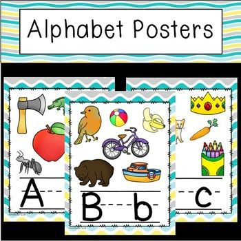FREE Full set of alphabet posters with upper and lower case letters. Each poster has several pictures and letters are lined.