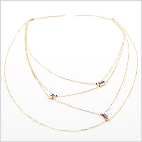 14k Rose Gold Drape Necklace with Amethyst and Pink Tourmaline, by Dawes Design.: 14K Rose, Rose Gold