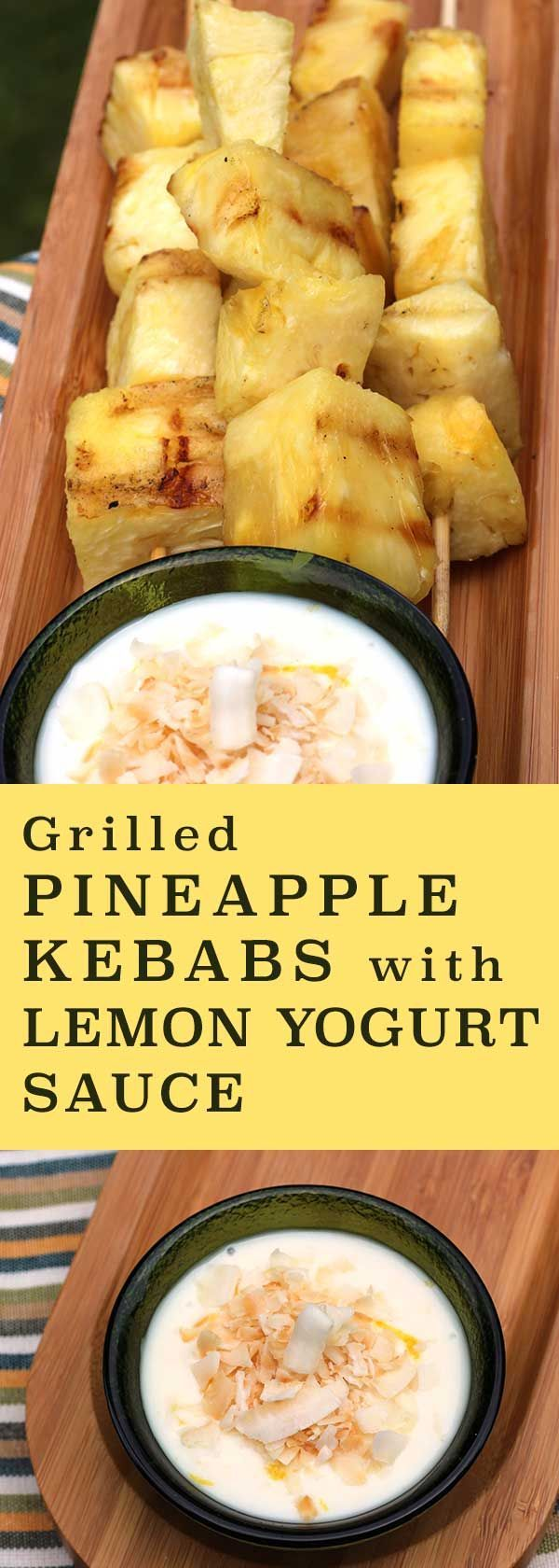 Great when the grill's fired up anyway! Leftovers make a great snack. http://www.diabeticfoodie.com/2016/05/grilled-pineapple-kebabs-with-lemon-yogurt-sauce/?utm_content=buffer49f4e&utm_medium=social&utm_source=pinterest.com&utm_campaign=buffer Foodie&utm_content=Grilled Pineapple Kebabs with Lemon Yogurt Sauce