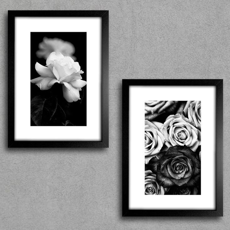 Kit de Quadros Decorativos Flores Preto e Branco Quarto Casal ...