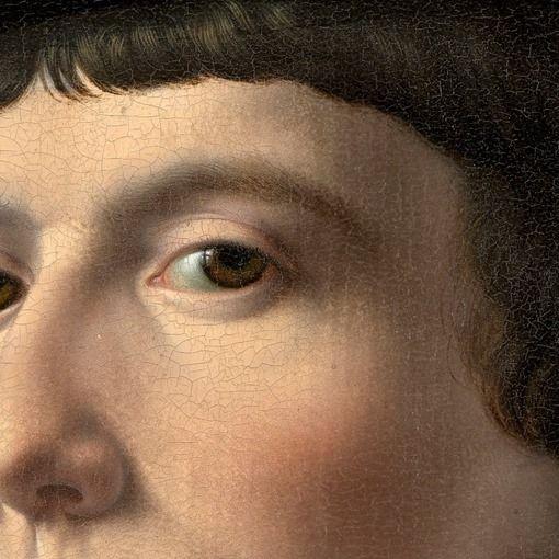 Particolari numero 4. Jan Gossaert: Ritratto di un mercante. Olio su tavola del 1530. National Gallery of Art, Washington, DC. Il mercante ha uno sguardo freddo, tiene il volto sollevato e guarda leggemente in giù, verso l'osservatore: dipinto perfettamente, i capelli ben definiti, è leggermente rovinato dal craquelé. Il riflesso della luce nel suo occhio mostra, quasi come fosse una croce, una finestra a quattro vetri.
