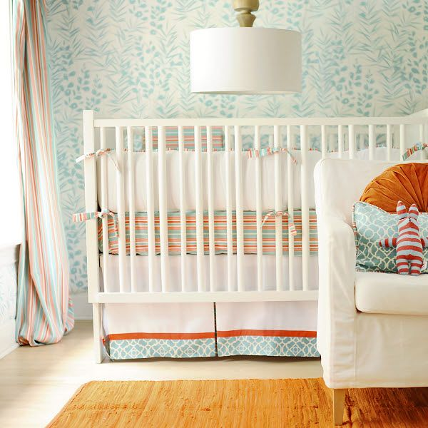 Scout Crib Bedding: Coral and aqua are the new green and yellow for gender neutral baby nurseries.  We love this refreshing crib bedding - it looks amazing with or without the crib bumpers.