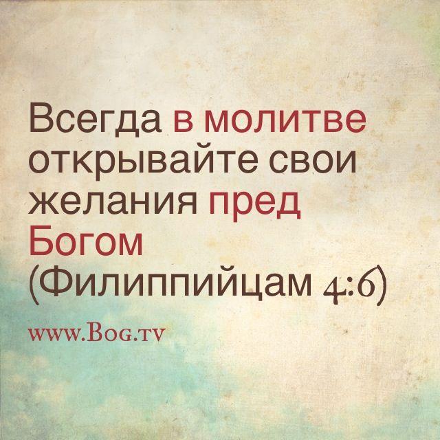 """Фил 4:6 """"Не заботьтесь ни о чем, но всегда в молитве открывайте свои желания пред Богом"""" #ПоговорисБогом ❤#Богтв #Bogtv"""