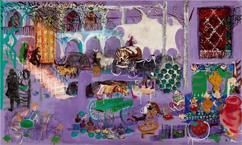 Bedri Rahmi Eyüboğlu Mor Han (Son Resim) 61.00 x 101.00 cm. 1975 Duralit üzerine akrilik