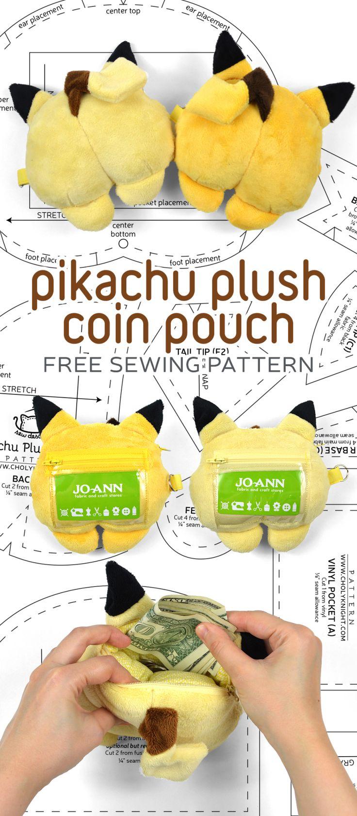 Free sewing pattern: Make a cute plush coin pouch shaped like a Pikachu butt! Ha…