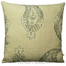 Tessa Proudfoot Giant Paisley Designer Linen Grey Sofa Cushion Pillow Cover