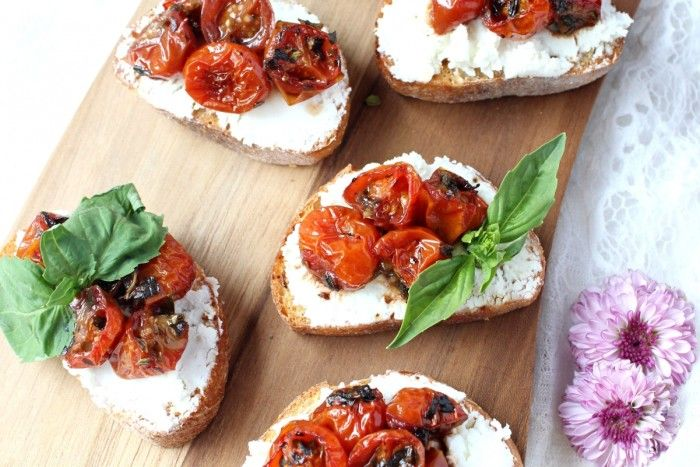 Red Wine Cherry Tomato & Goat Cheese Crostini