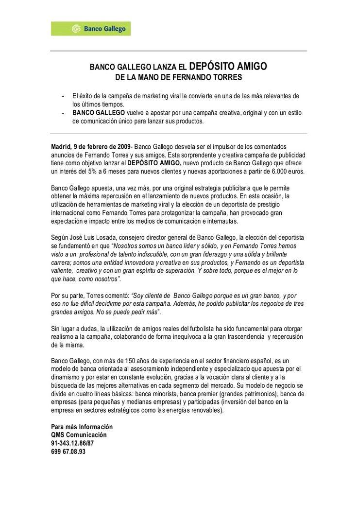 """QMS Comunicación fue la agencia responsable de la difusión en medios de comunicación en España y de crear expectación en la fase teaser de la campaña """"Depósito amigo"""" de Banco Gallego."""