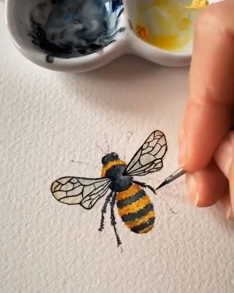 Watercolors are often associated with broad, undetailed strokes of color - this bee proves that Watercolor Paint is great for the little details, too. Artist Credit: @wolfandbear.co