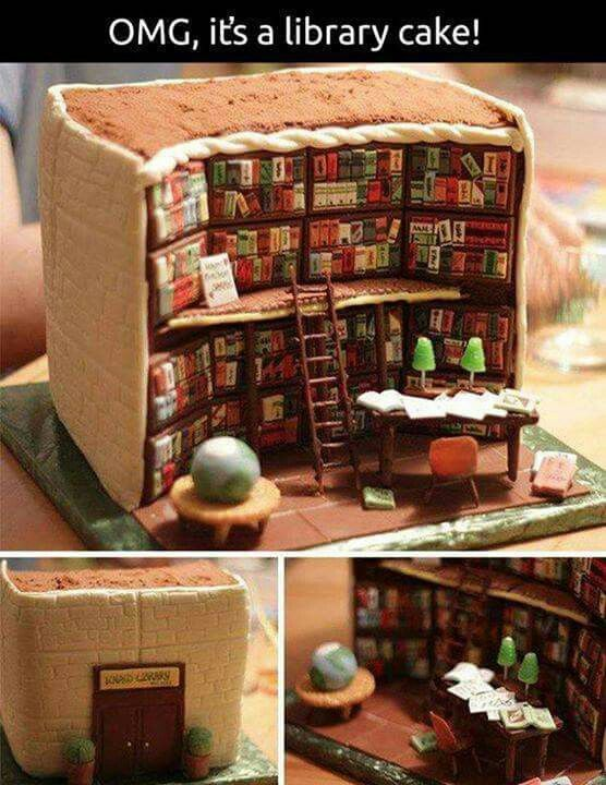Unreal... A cake made to look like a library!