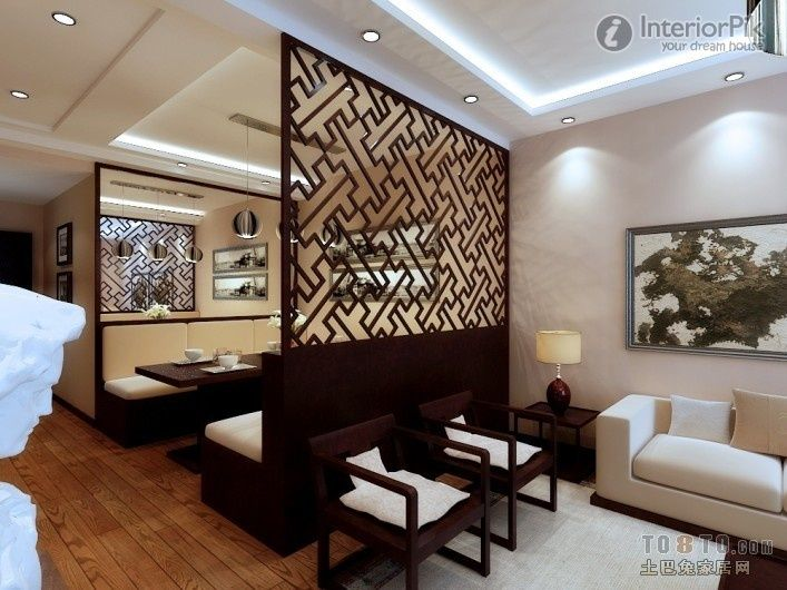 Living dining partition google search interiors for Dining hall wall design