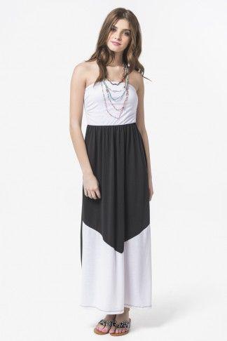 Robe maxi sans bretelles noir & blanc à bloc - Robes - Vêtements