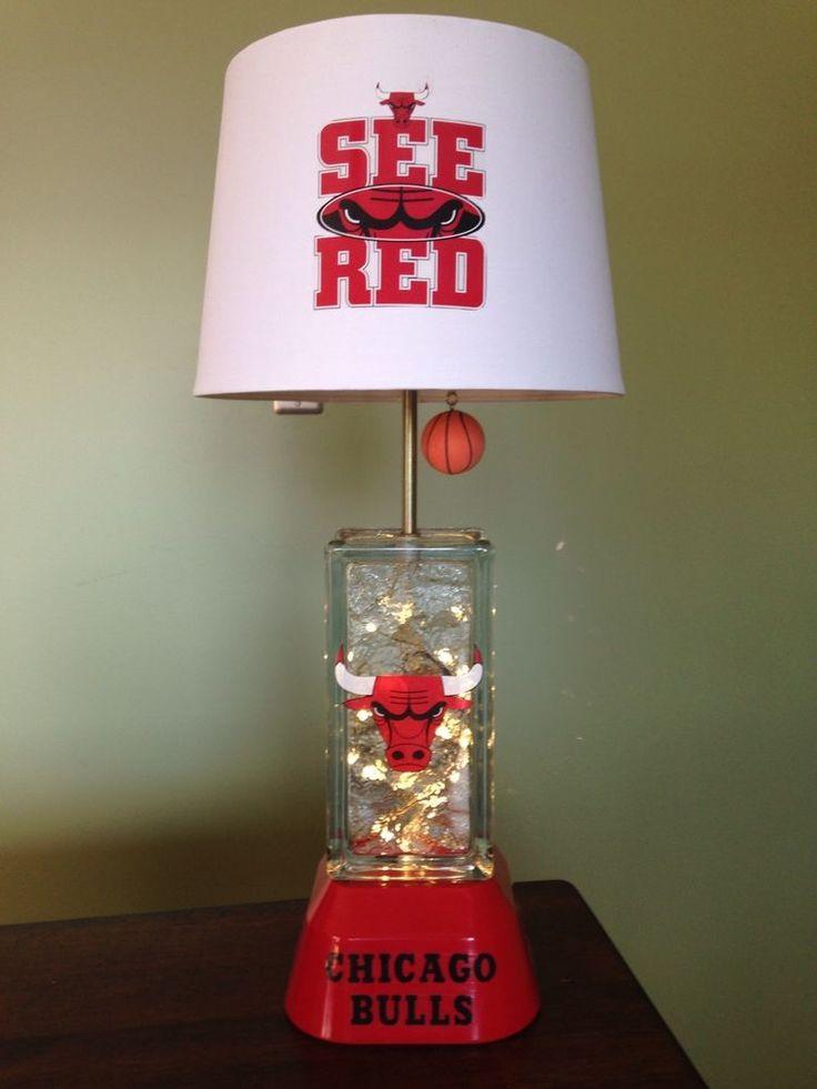 Chicago Bulls Glassblock Lamp. From Thatlampguy.net