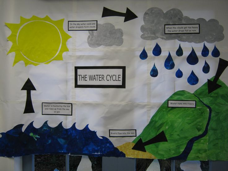 Water Cycle Classroom Visual- This is a good idea for a bulletin board to display in the classroom. It is very simple, yet visually strong. It will help students be able to refer to the board as they discover new concepts regarding air and water.
