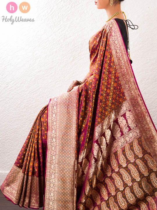 Multi-color Handwoven Katan Silk Jamawar Brocade Saree