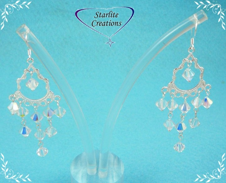 Swarovsk Clear AB Crystal Chandellier Earrings Sterling Silver Earhooks