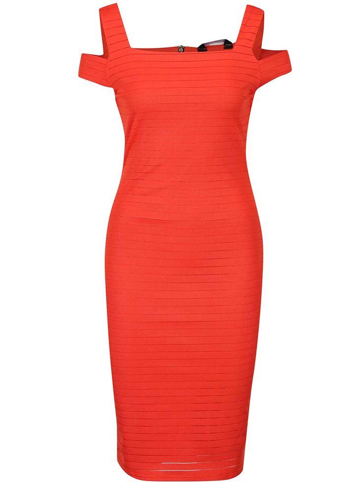 Oranžové pruhované šaty s průstřihy na ramenou Dorothy Perkins