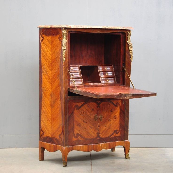 """Nice French LOUIS XV style sécretaire, #rosewood and #palissander wood, #marquetry, #gilded bronzes, """"Brêche d'Alep"""" #marble top."""