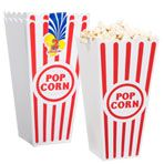 Get paper or plastic popcorn containers from dollar tree