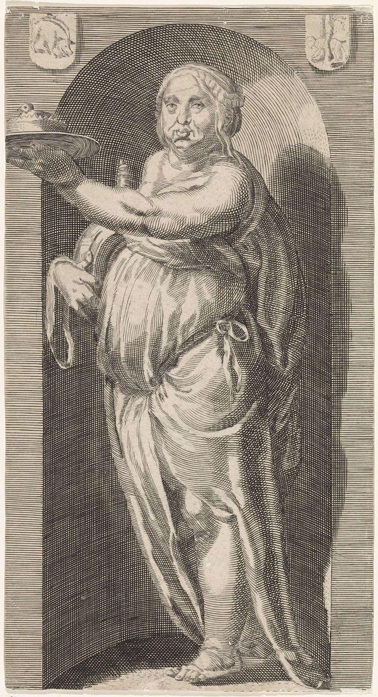 Jacob Matham | Gulzigheid (Gula), Jacob Matham, Anonymous, Hendrick Goltzius, 1593 | Personificatie van gulzigheid, verbeeld als een dik vrouwenfiguur met een pastei, staand in een nis.
