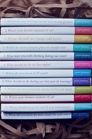 The couple had twelve custom-made guestbooks made, with each book bearing a unique question for guests to answer.