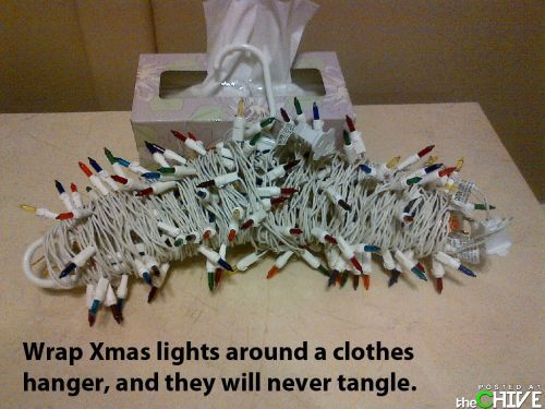Use a Coat Hanger as an inexpensive way to store Christmas lights - no more tangling!
