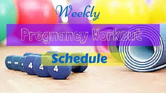 Weekly pregnancy workout schedule to keep you on track, control weight gain and have a healthy and fit pregnancy.  Great pregnancy workout routine.