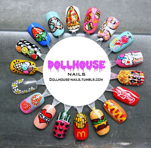 fast foods nail art weel, yeahhhhh!! and daisies, tattoo heart and some fruit, foods mash up.