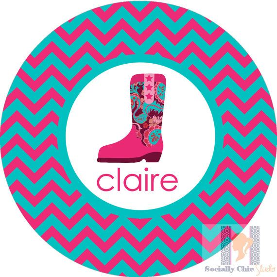 Personalized cowgirl girl boot chevron plate by SociallyChicStudio, $18.00