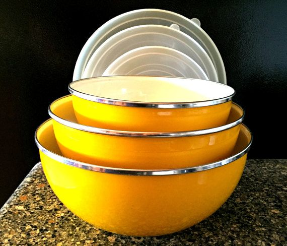 Vintage Golden Yellow Enamelware Nesting Bowls with Lids 1960s by TimelessTreasuresbyM on Etsy