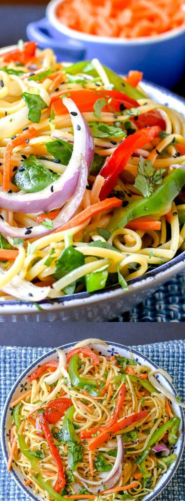 Thus Thai Noodle Salad from Flavor Mosaic is full of flavor and has just enough kick to get your attention! It's a colorful dish packed with fresh veggies, a tasty marinade, and a sprinkling of black sesame seeds!