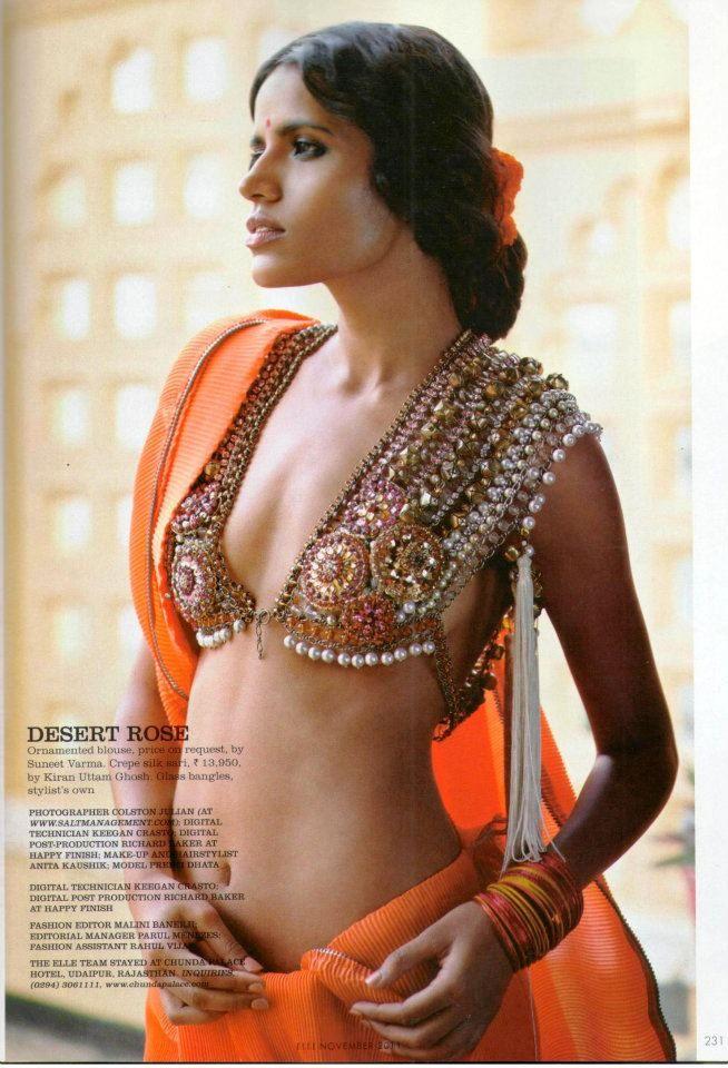 Crepe Silk Saree by Kiran Uttam Ghosh http://www.kiranuttamghosh.com/ $273, Ornamented Blouse by Suneet Varma http://www.suneetvarma.in/